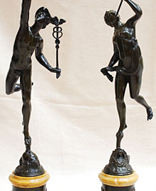 Bronze and Siena Statues of Mercury and Fortuna
